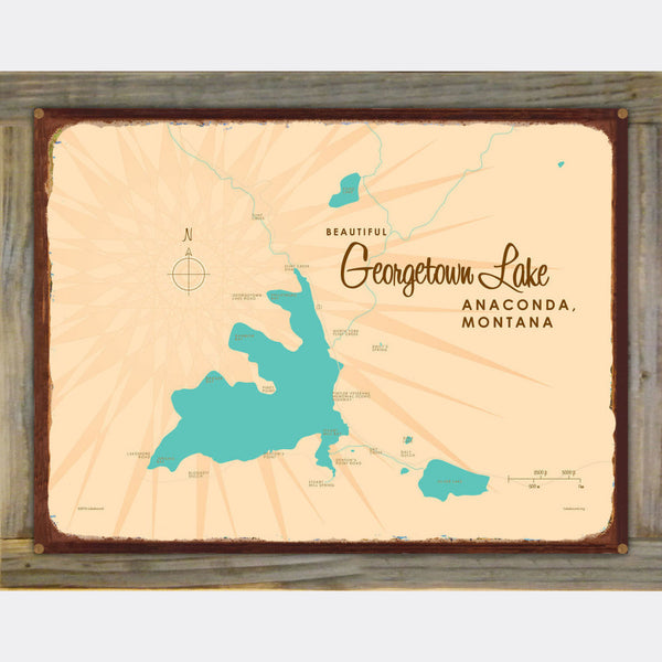 Georgetown Lake Montana, Wood-Mounted Rustic Metal Sign Map Art