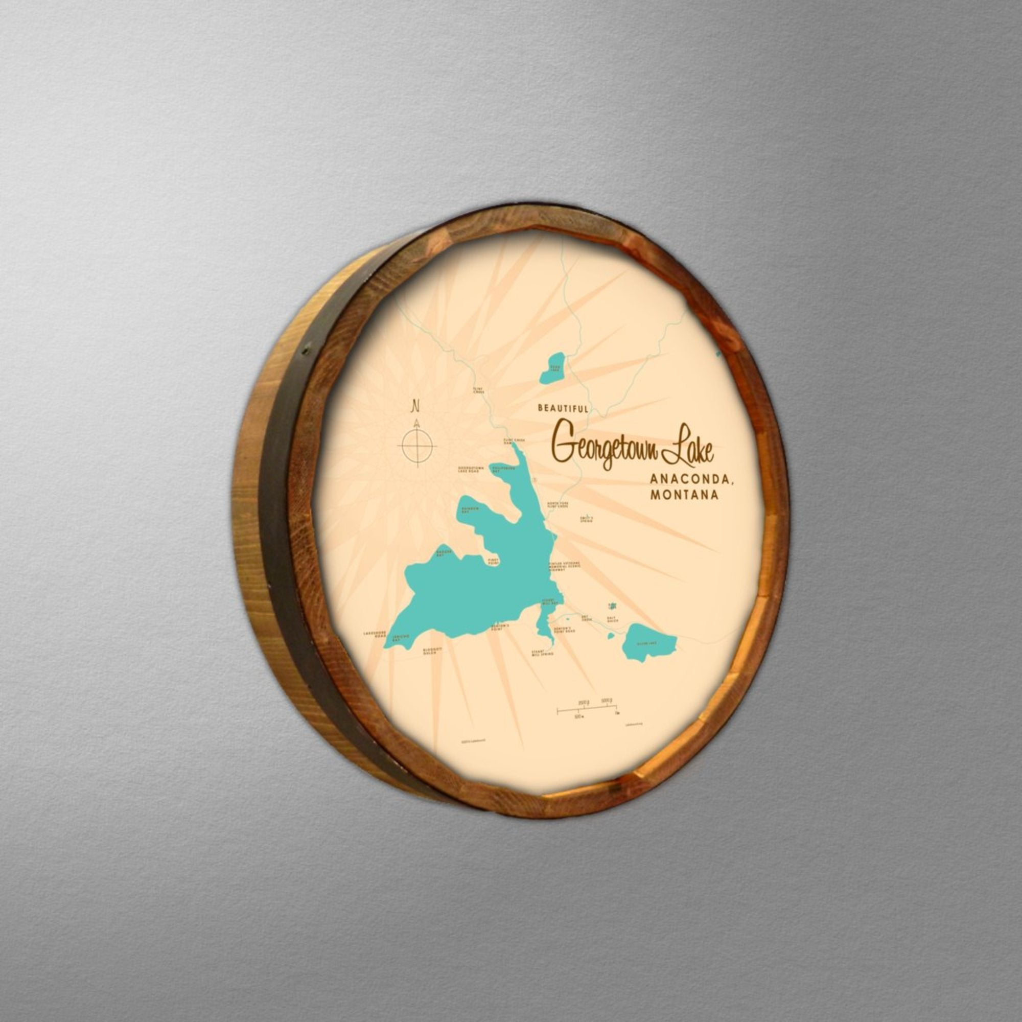 Georgetown Lake Montana, Barrel End Map Art