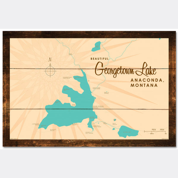 Georgetown Lake Montana, Rustic Wood Sign Map Art