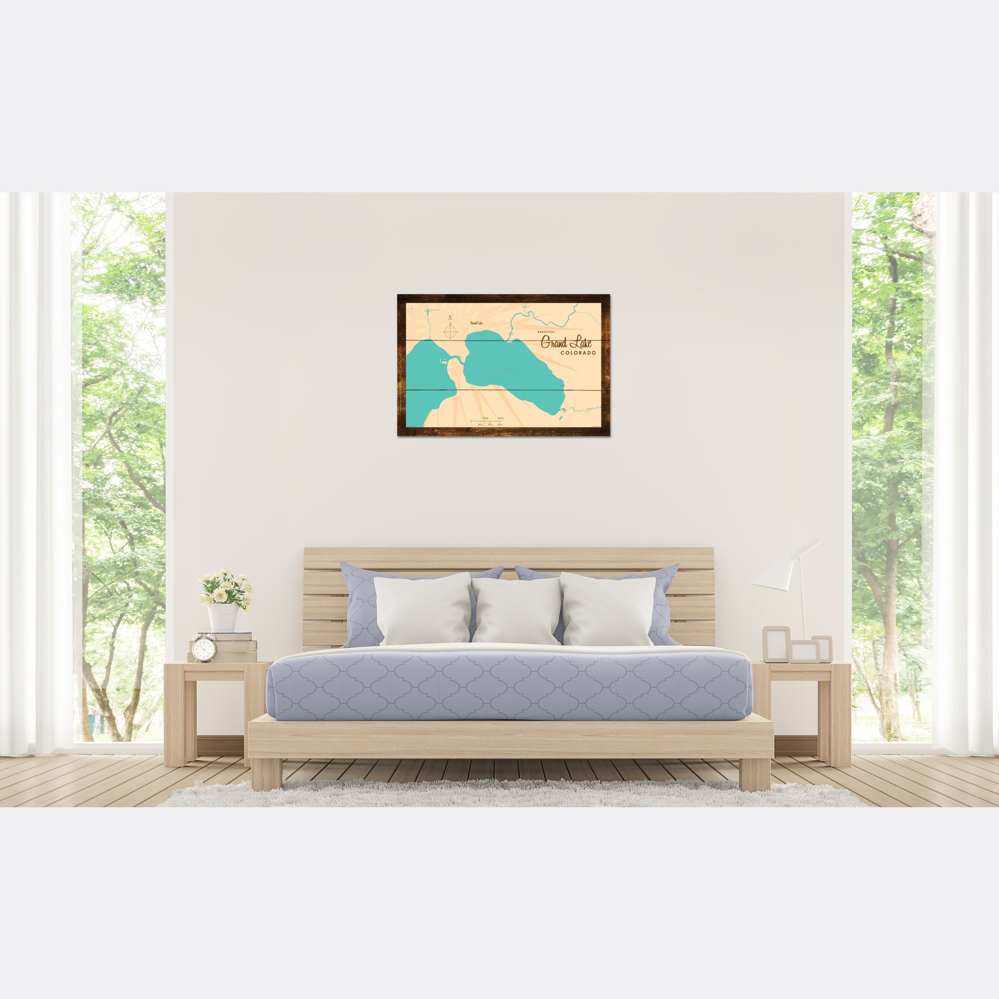 Grand Lake Colorado, Rustic Wood Sign Map Art