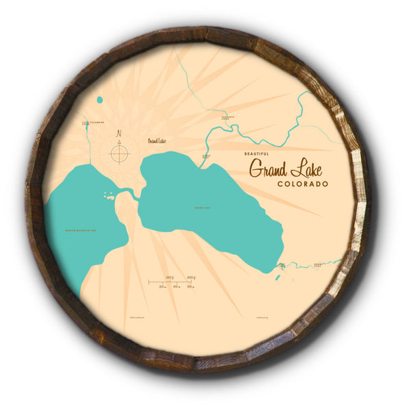 Grand Lake Colorado, Barrel End Map Art