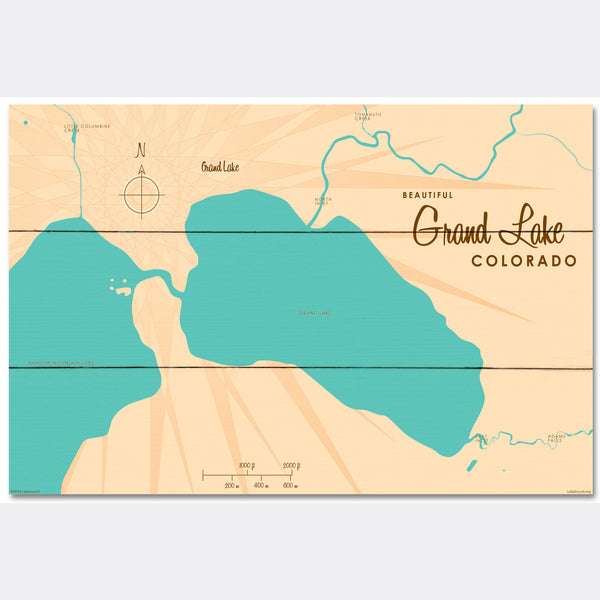 Grand Lake Colorado, Wood Sign Map Art