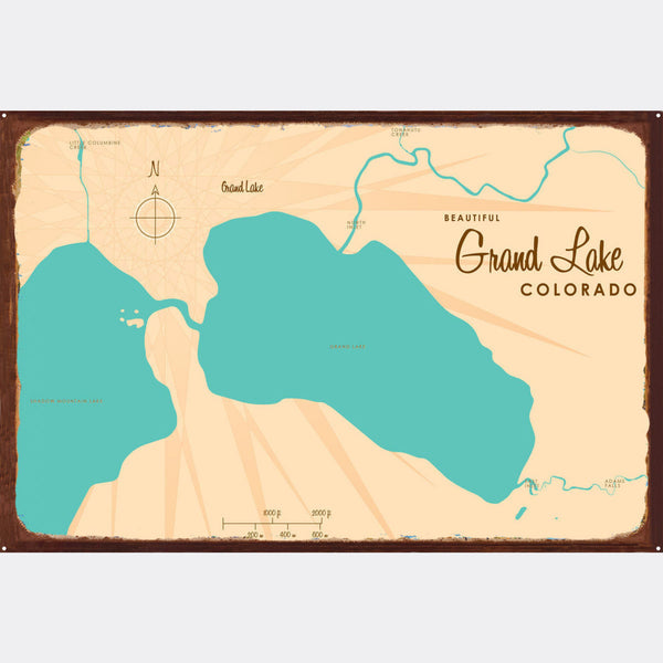 Grand Lake Colorado, Rustic Metal Sign Map Art