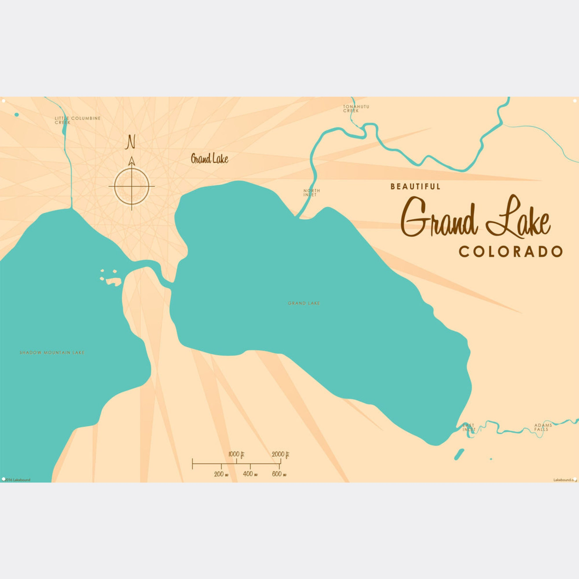 Grand Lake Colorado, Metal Sign Map Art