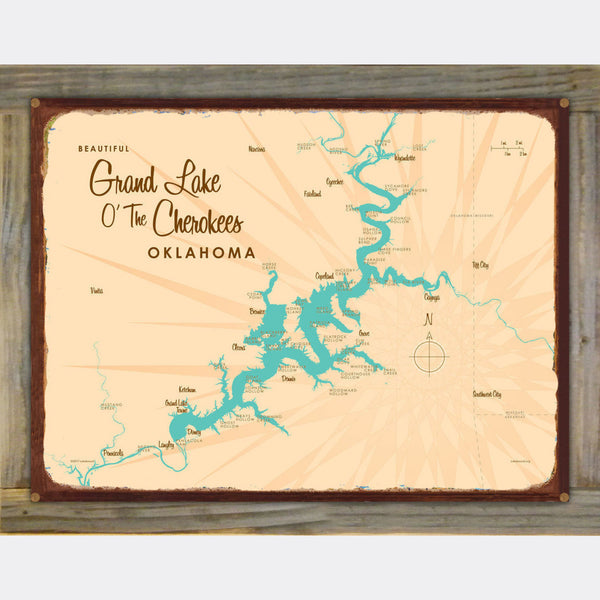 Grand Lake O' The Cherokees Oklahoma, Wood-Mounted Rustic Metal Sign Map Art