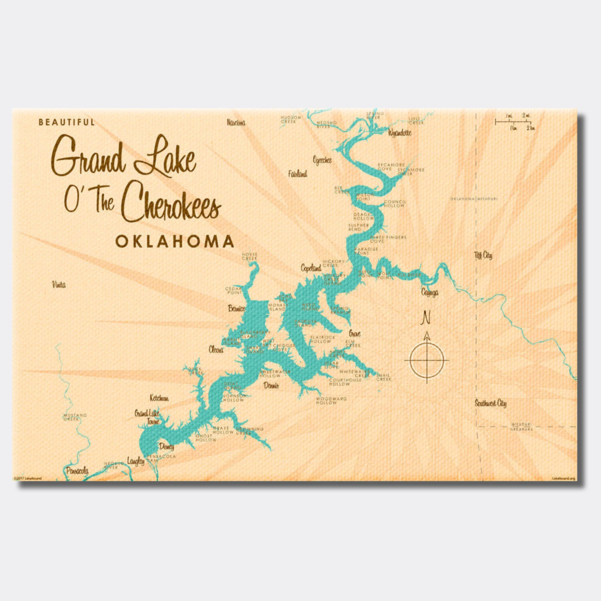 Grand Lake O' The Cherokees Oklahoma, Canvas Print