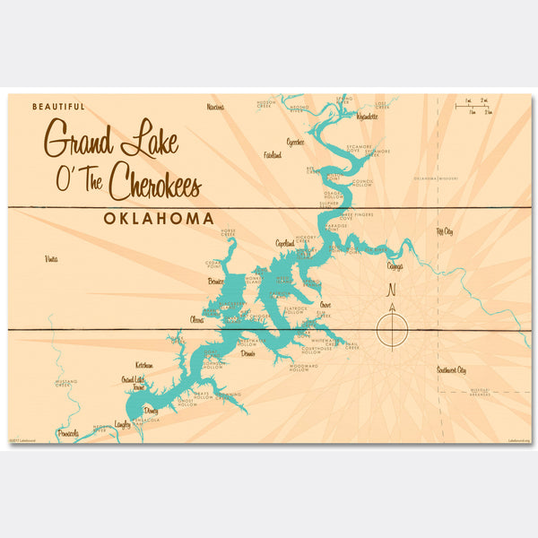Grand Lake O' The Cherokees Oklahoma, Wood Sign Map Art