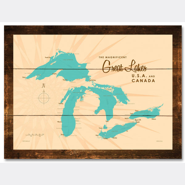 Great Lakes, Rustic Wood Sign Map Art