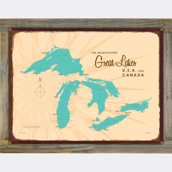 Great Lakes, Wood-Mounted Rustic Metal Sign Map Art