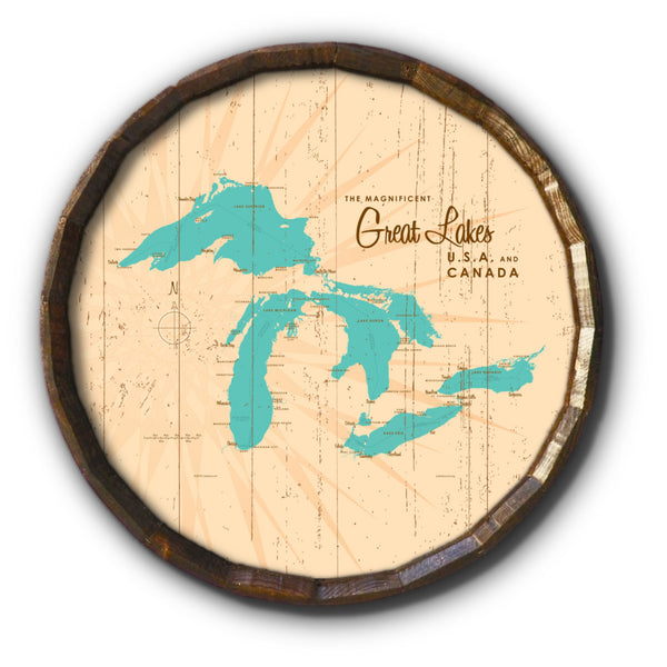 Great Lakes, Rustic Barrel End Map Art