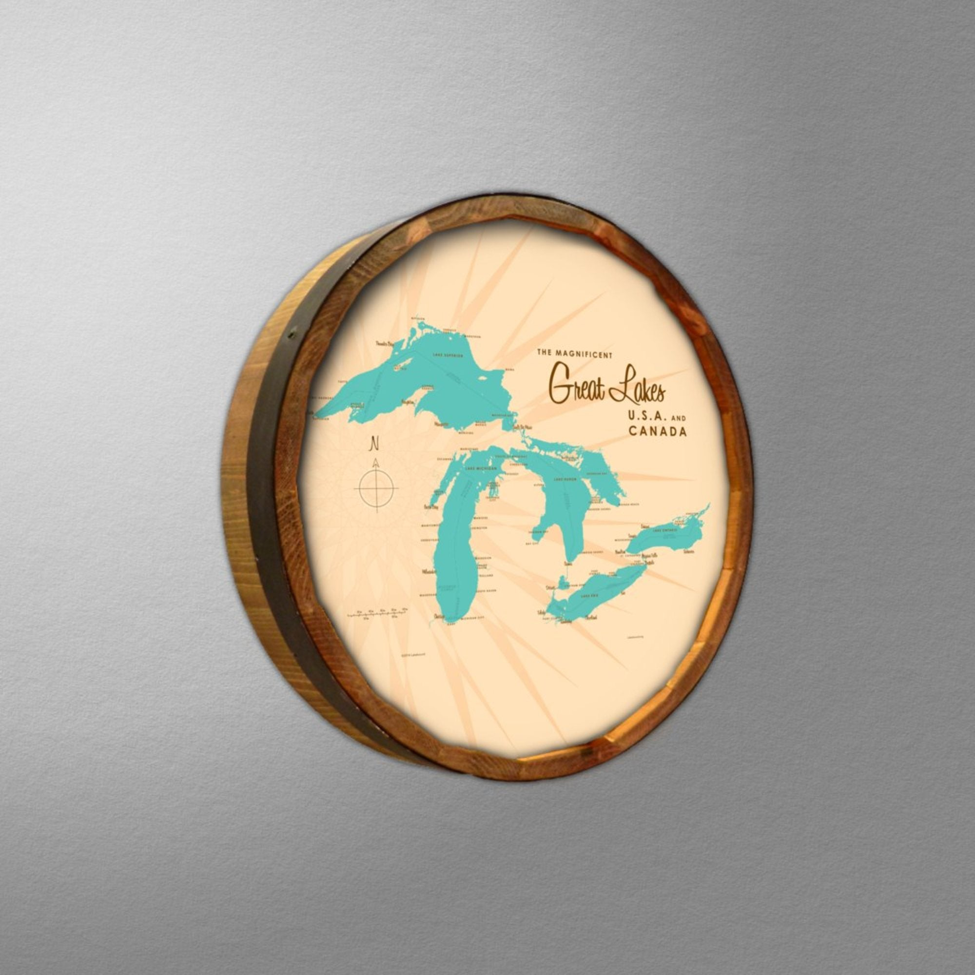 Great Lakes, Barrel End Map Art