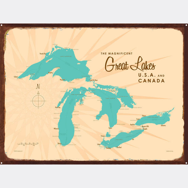 Great Lakes, Rustic Metal Sign Map Art
