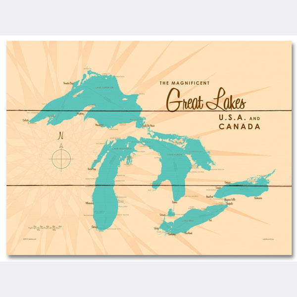 Great Lakes, Wood Sign Map Art