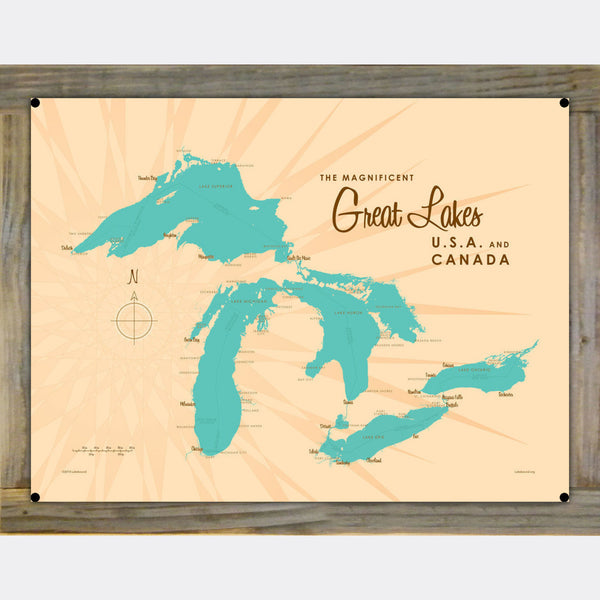 Great Lakes, Wood-Mounted Metal Sign Map Art