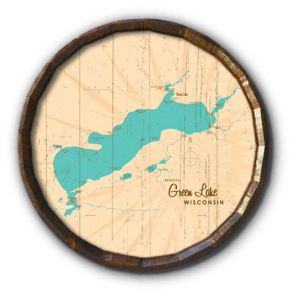 Green Lake Wisconsin, Rustic Barrel End Map Art