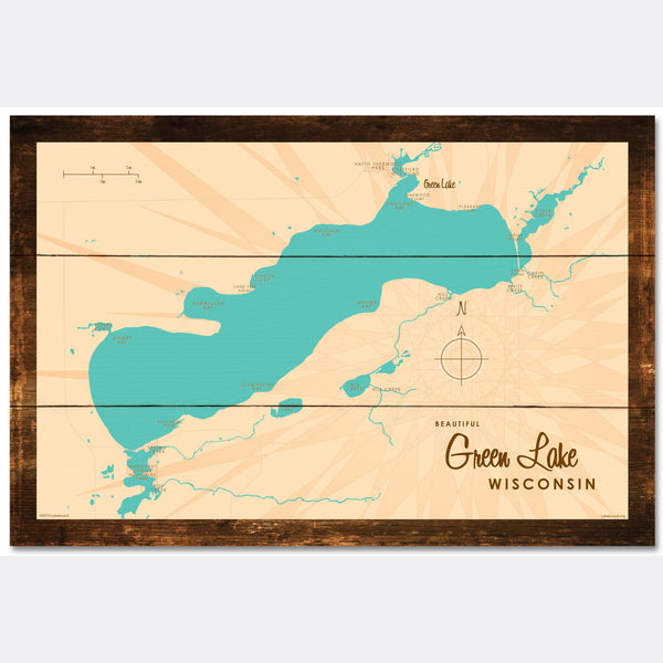 Green Lake Wisconsin, Rustic Wood Sign Map Art
