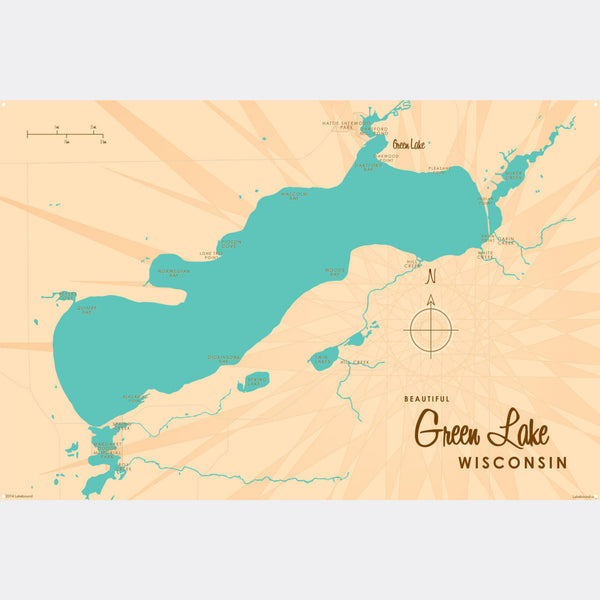 Green Lake Wisconsin, Metal Sign Map Art
