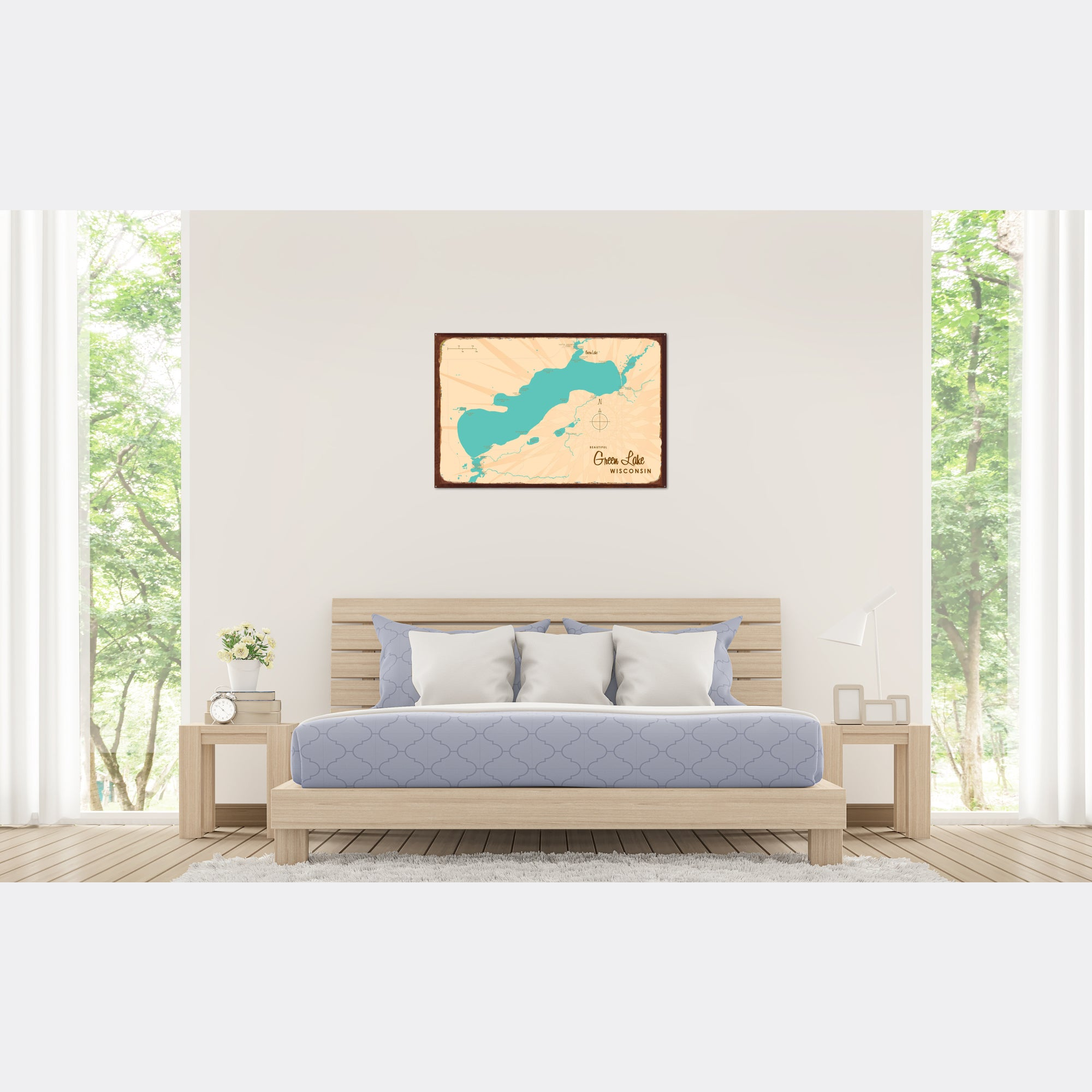 Green Lake Wisconsin, Rustic Metal Sign Map Art