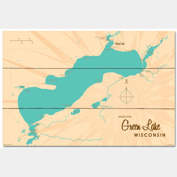 Green Lake Wisconsin, Wood Sign Map Art