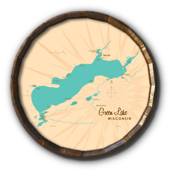 Green Lake Wisconsin, Barrel End Map Art