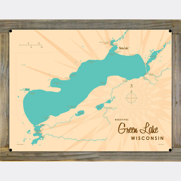 Green Lake Wisconsin, Wood-Mounted Metal Sign Map Art