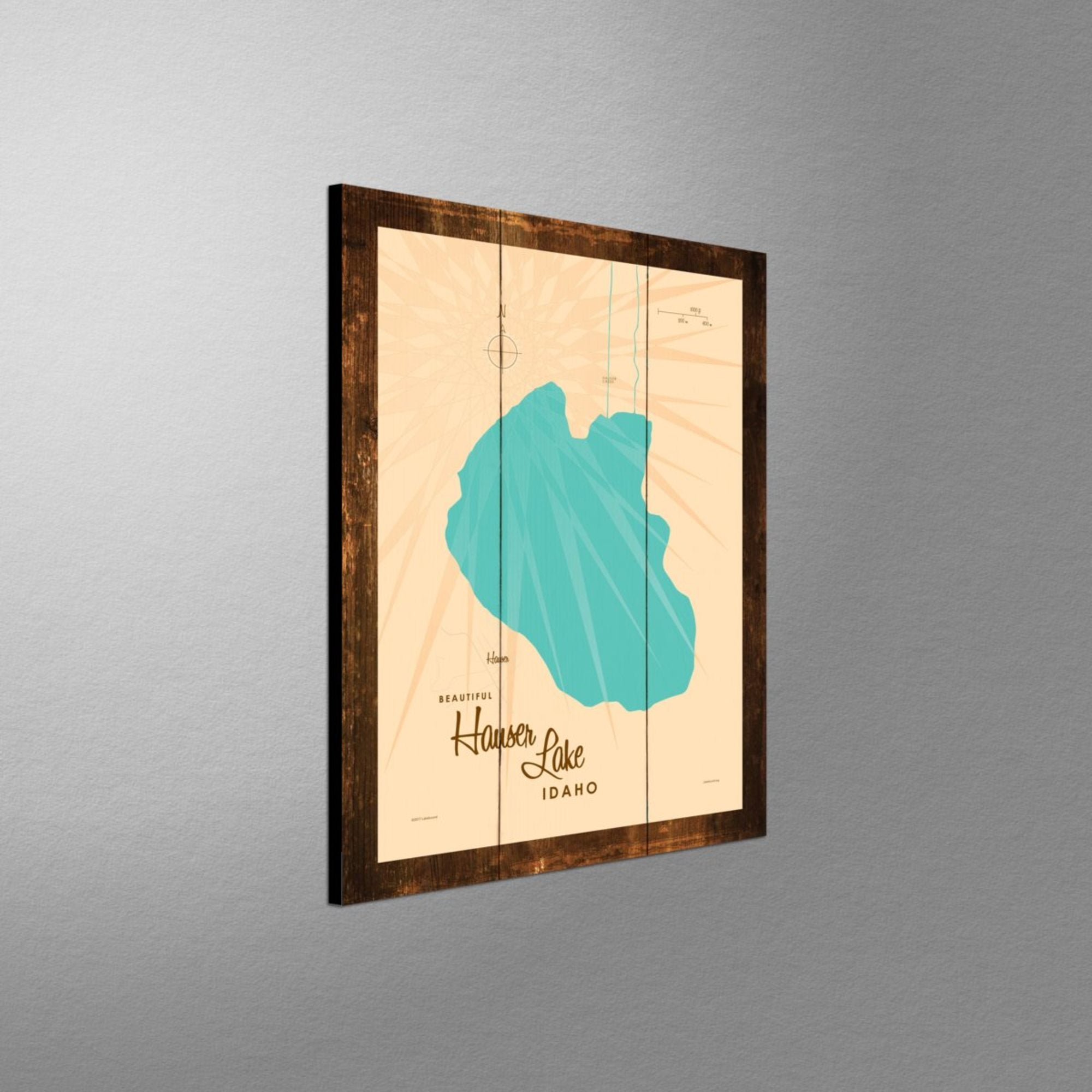 Hauser Lake Idaho, Rustic Wood Sign Map Art