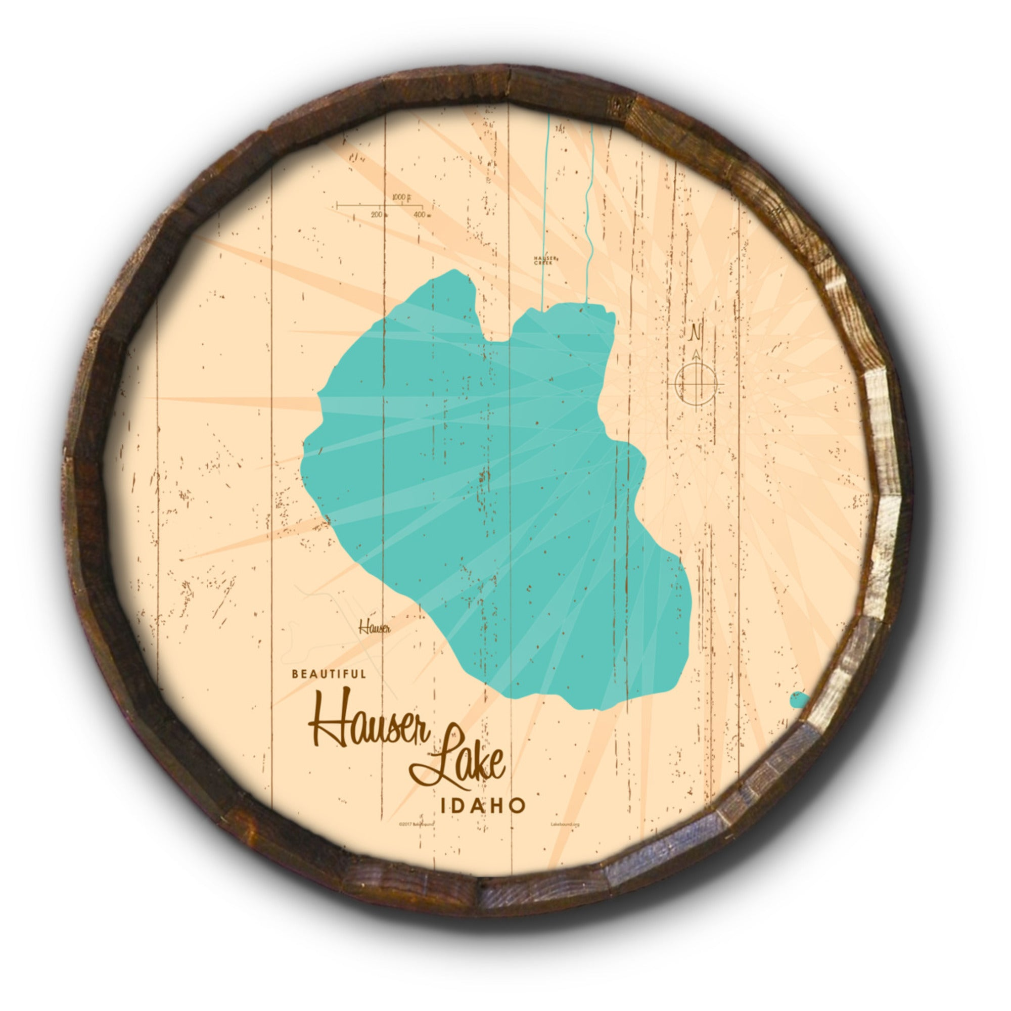 Hauser Lake Idaho, Rustic Barrel End Map Art