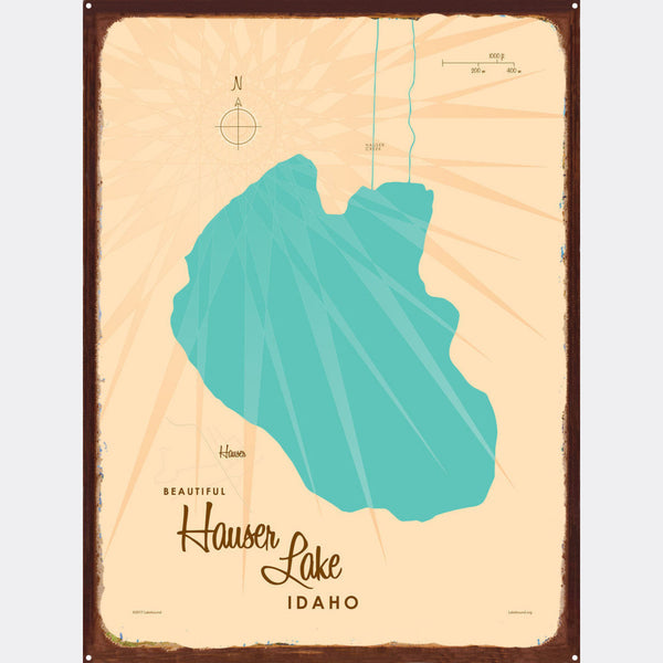 Hauser Lake Idaho, Rustic Metal Sign Map Art