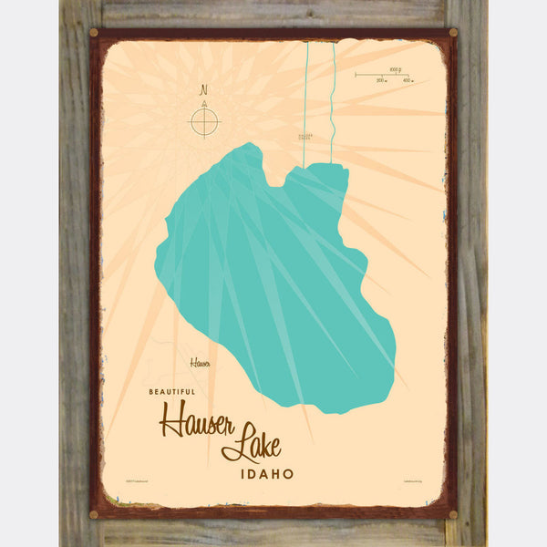 Hauser Lake Idaho, Wood-Mounted Rustic Metal Sign Map Art
