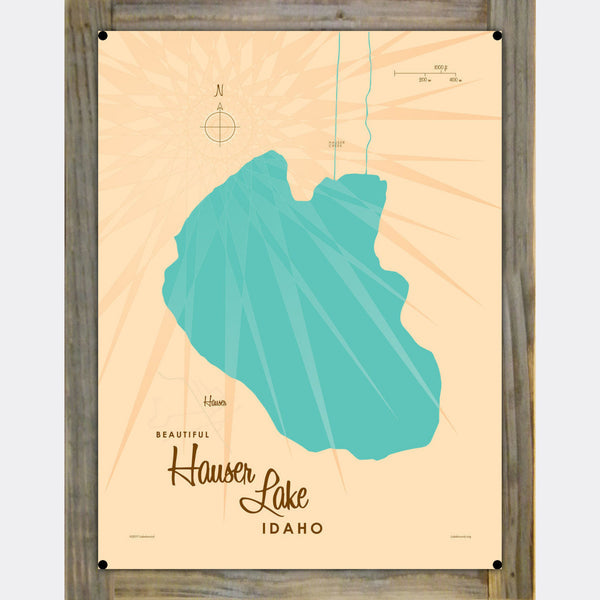 Hauser Lake Idaho, Wood-Mounted Metal Sign Map Art