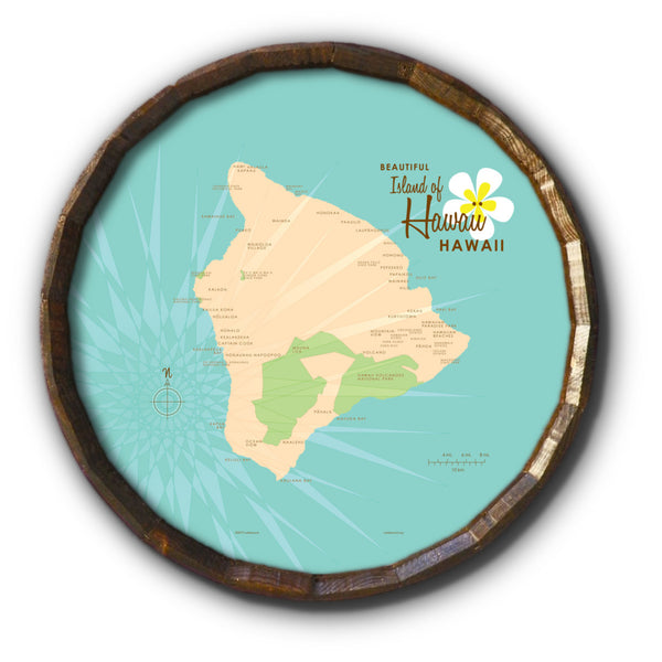 Hawaii, Barrel End Map Art