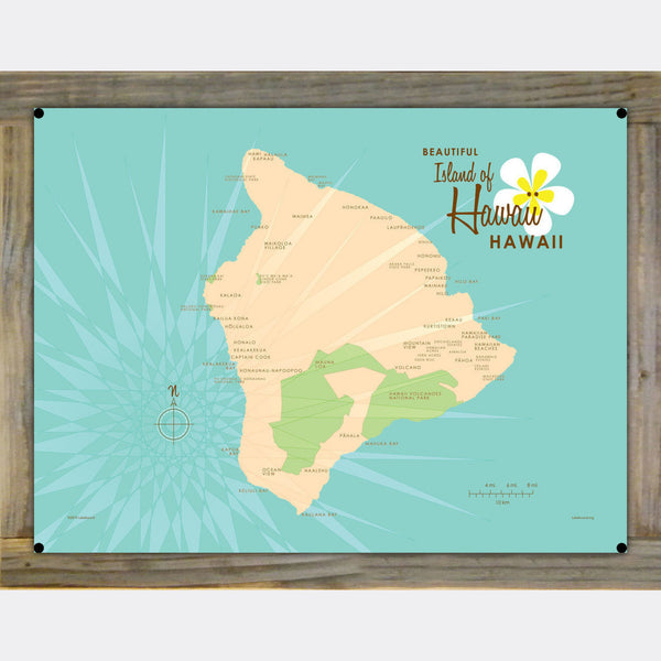 Hawaii, Wood-Mounted Metal Sign Map Art