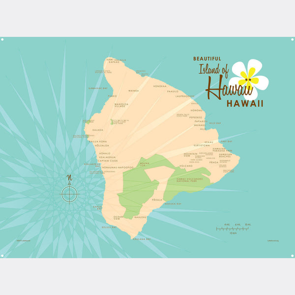 Hawaii, Metal Sign Map Art