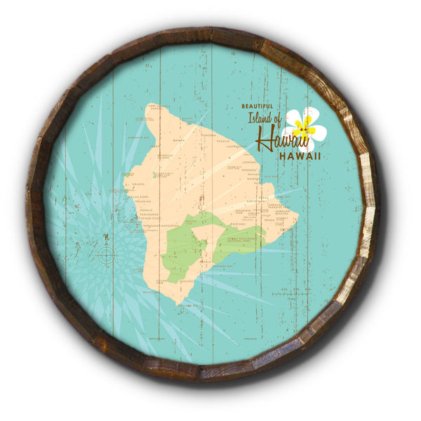 Hawaii, Rustic Barrel End Map Art
