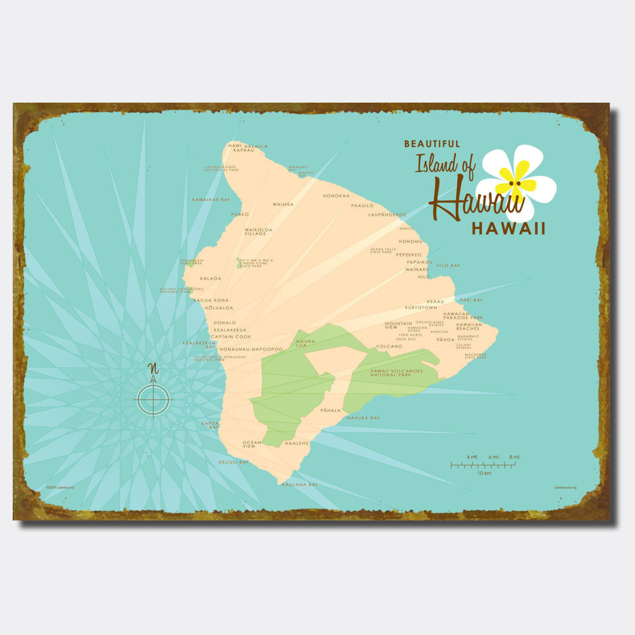 Hawaii Sign Map Art Lakebound
