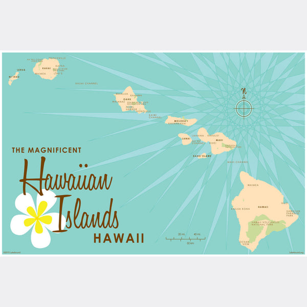 Hawaiian Islands, Paper Print