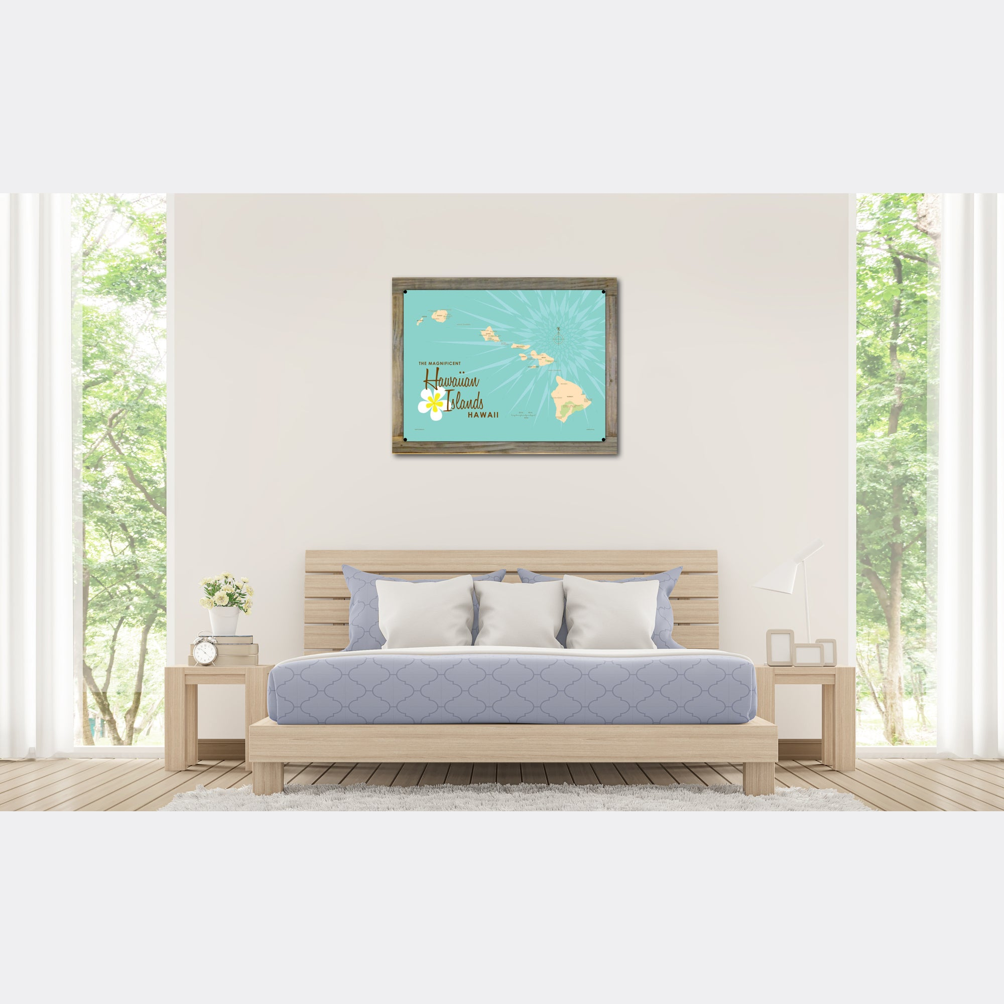Hawaiian Islands, Wood-Mounted Metal Sign Map Art