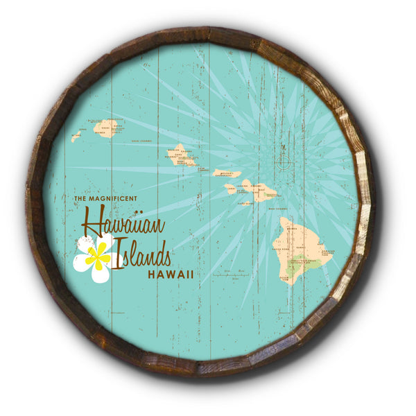 Hawaiian Islands, Rustic Barrel End Map Art