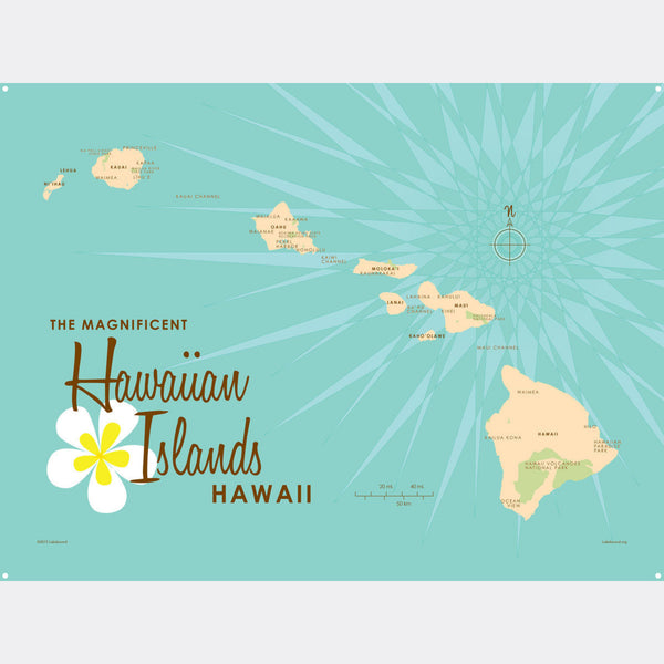 Hawaiian Islands, Metal Sign Map Art