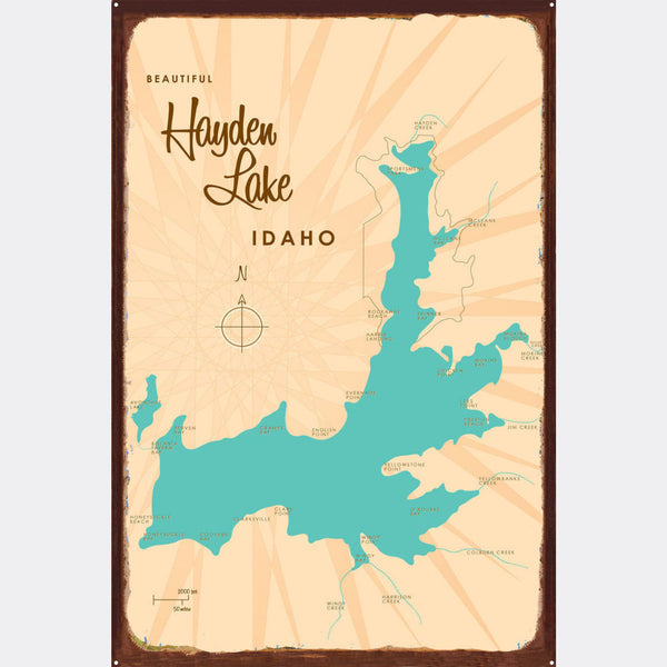 Hayden, Rustic Metal Sign Map Art