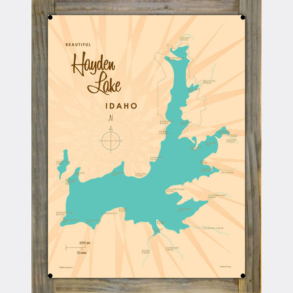 Hayden, Wood-Mounted Metal Sign Map Art
