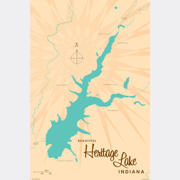 Heritage Lake Indiana, Metal Sign Map Art