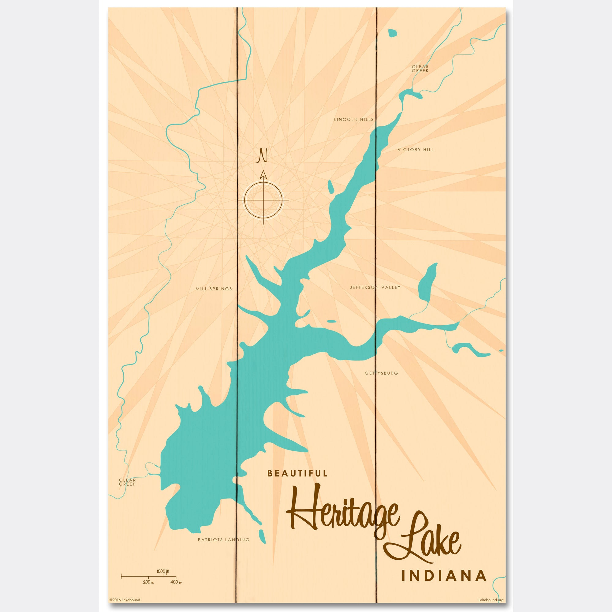 Heritage Lake Indiana, Wood Sign Map Art