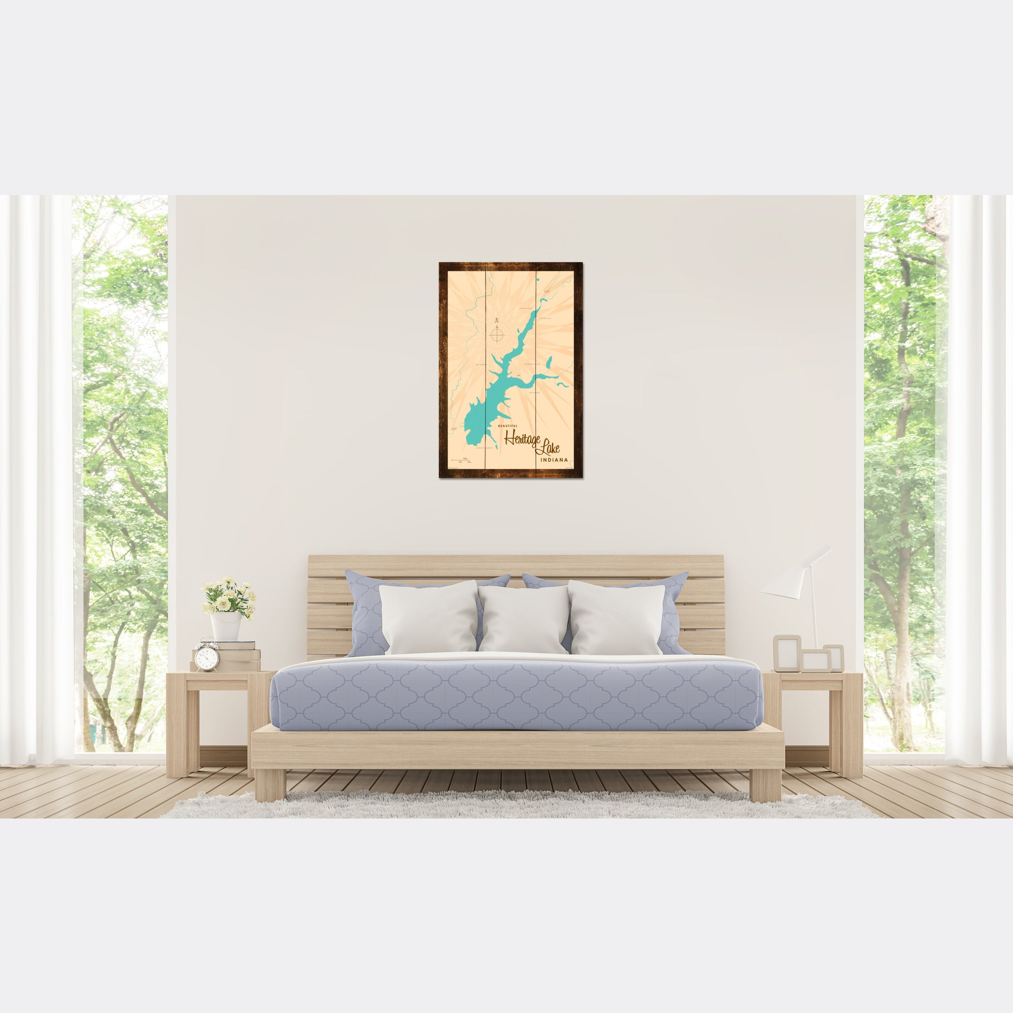 Heritage Lake Indiana, Rustic Wood Sign Map Art