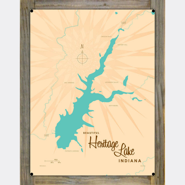 Heritage Lake Indiana, Wood-Mounted Metal Sign Map Art