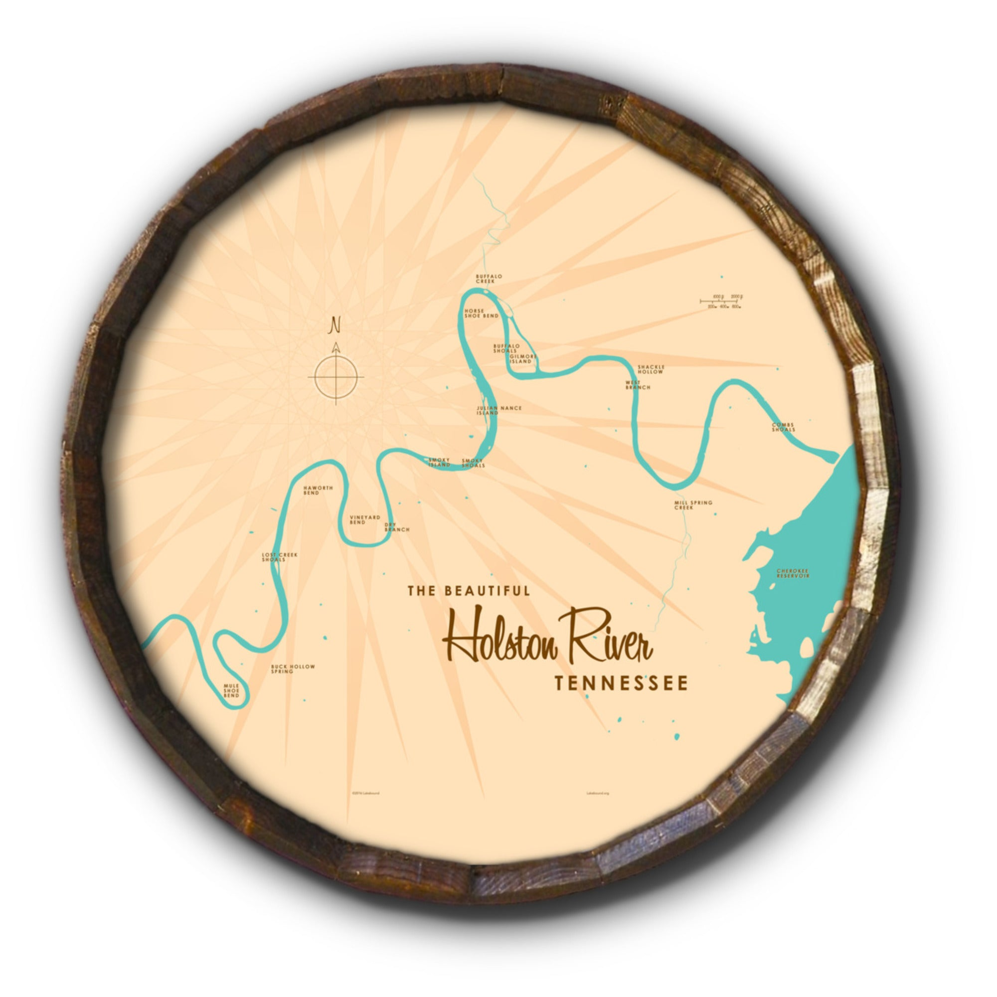 Holston River Tennessee, Barrel End Map Art