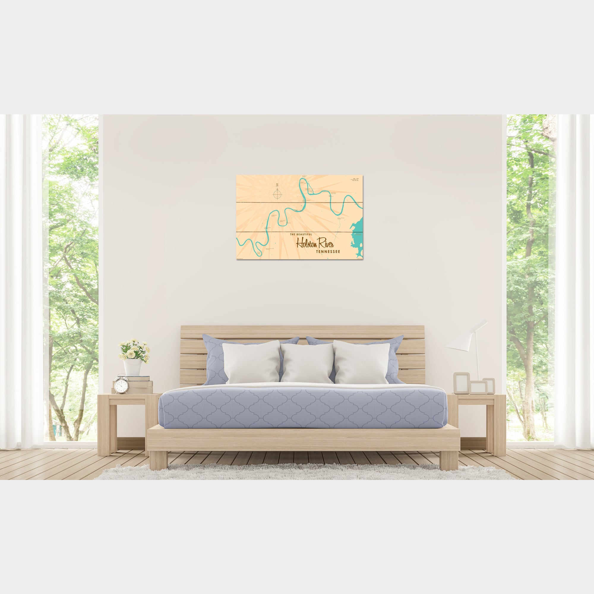 Holston River Tennessee, Wood Sign Map Art