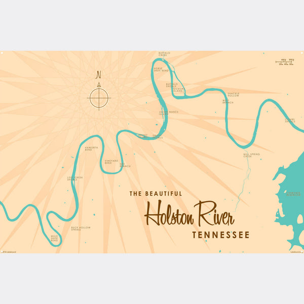 Holston River Tennessee, Metal Sign Map Art