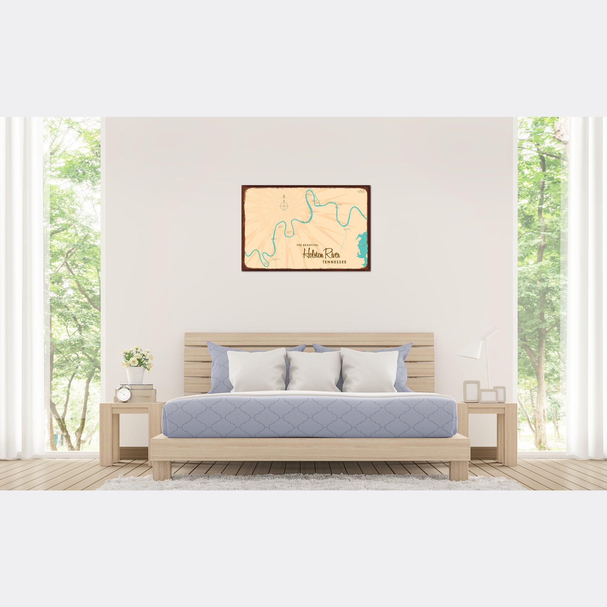 Holston River Tennessee, Rustic Metal Sign Map Art