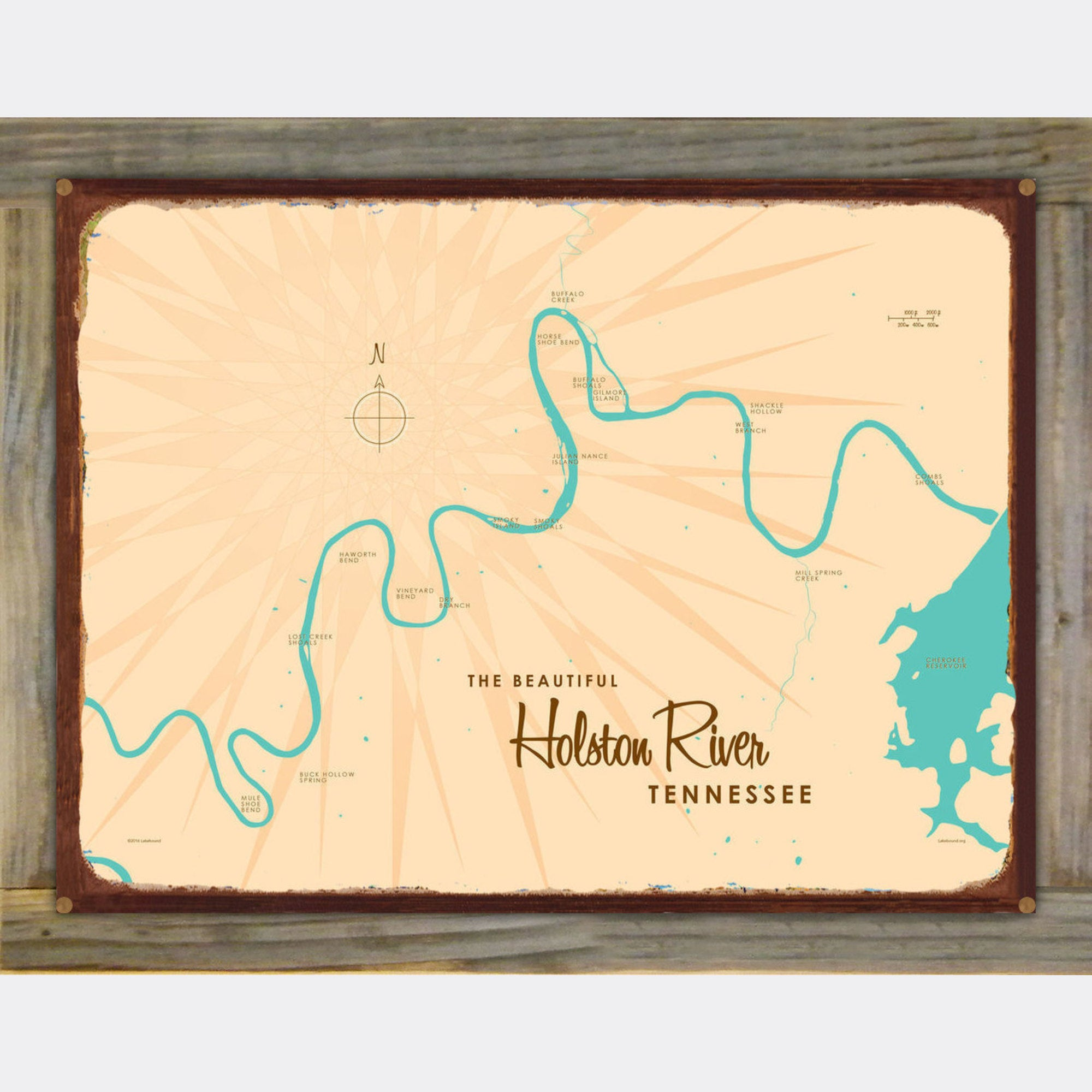 Holston River Tennessee, Wood-Mounted Rustic Metal Sign Map Art